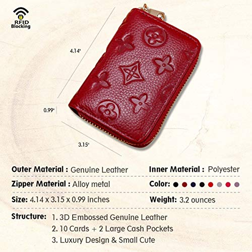 Auner Womens Wallet RFID Blocking Genuine Leather Multi Credit Card Holder Zipper Small Wallets - Dark Red by Auner (Image #2)