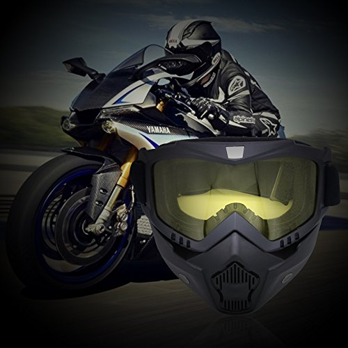 LUCKSTAR Motorcycle Goggles Mask - Detachable Motorcycle Helmet Riding Goggles Glasses Harley Style Protect Padding Helmet Sunglasses, Road Riding UV Motorbike Glasses (Yellow) by LUCKSTAR (Image #5)