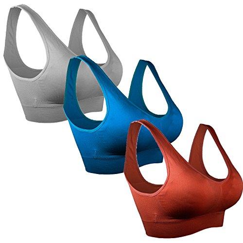 Libella - Sujetador deportivo - Básico - para mujer 3er-Grau-Blau-Dunkelrot