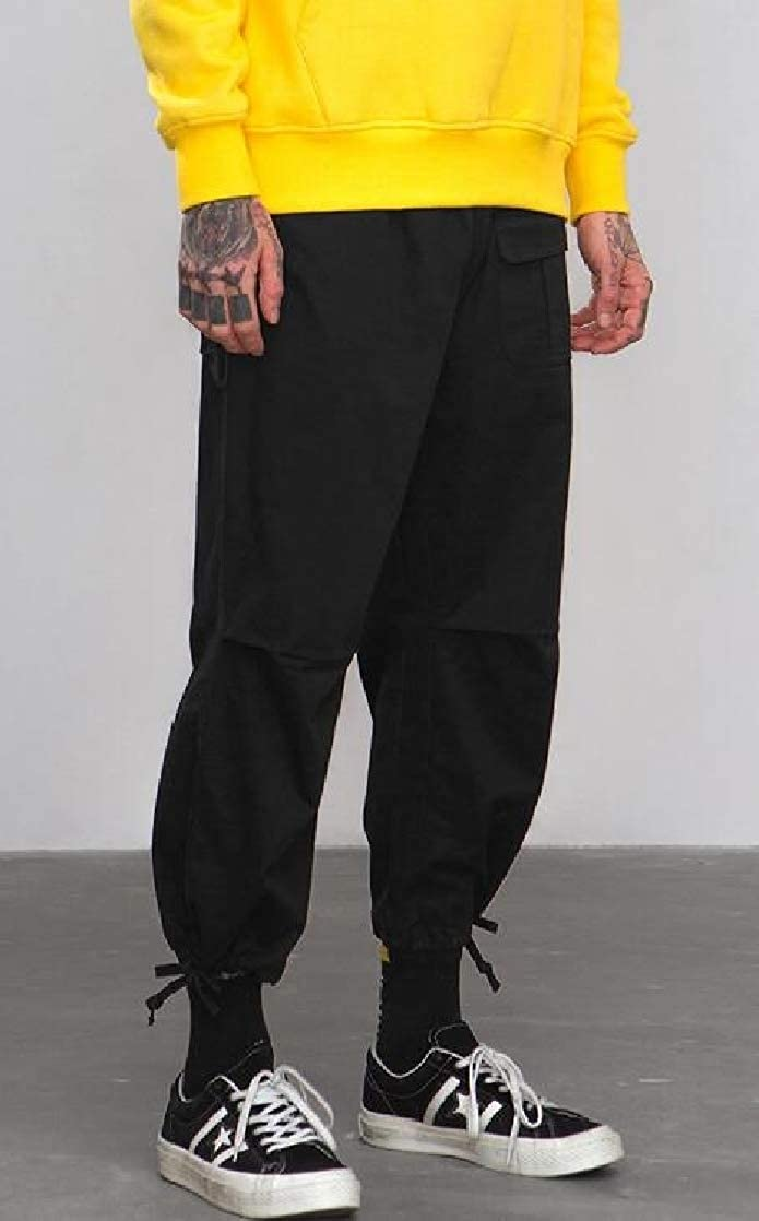 Joe Wenko Men All-Match Cargo Elastic Waist Solid Cotton Trousers Pants