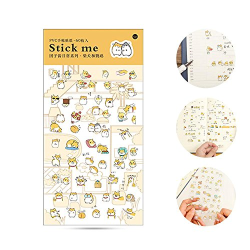 Leegoal Cute Cartoon Animal Stickers Pack, Decorative Sticker Collection for Hand Account, Diary Book, Calendars, Album, DIY Crafts ()
