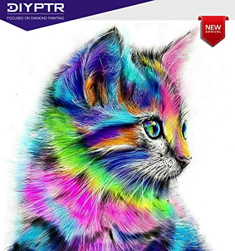 Cat Colorful (Diamond Painting Kits for Adults, DIY 5D Diamond Painting Kit Full Drill Colorful Cat Embroidery Rhinestone Arts Craft Canvas for Home Wall Decor, 11.8 x 15.8 inch)