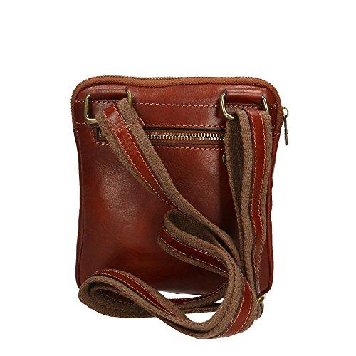 bolsa auténtico Aren cuero 16x18x4 Cm Marrón Made Hombro de hombre Italy in del ptw6tqH