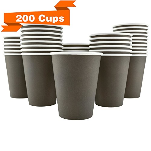 200 Pack - 12 Oz [8, 16] Disposable Hot Paper Coffee Cups - Mocha Brown (Cups Only)