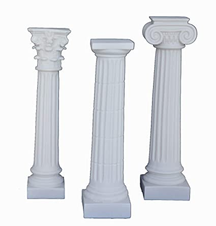 10 inches Ancient Greek Corinthian Doric Ionic Order Column Alabaster Set  Artifact