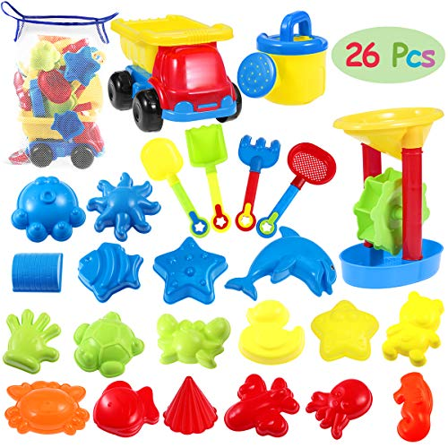 iBaseToy 26Pcs Beach Sand Toys with Mesh Bag - Beach Shovel Sand Rake Tool Kit, Beach Mold, Sand Water Wheel, Dump Truck, Watering Can - Outdoor Sandbox Toys Set for Kids Toddlers