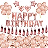 Birthday Decorations Girl, Happy Birthday Banner Balloon Party Rose Gold Balloons Confetti Balloons Foiled Tassel Garland Star Heart Foil Balloon for Women Birthday Party décorations d'anniversaire