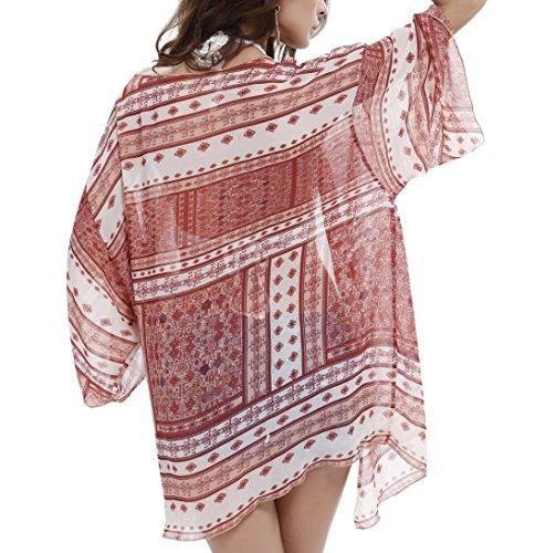 Price comparison product image VivilY Womens Chiffon Bathing Suit Swimwear Bikini Swimsuit Beach Wear Cover up Red