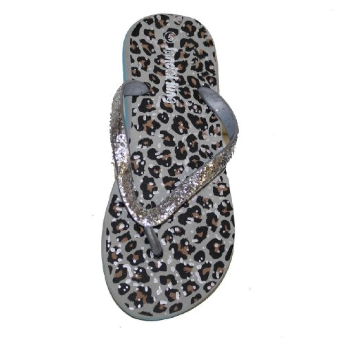 Sandalo Infradito Da Donna Casual Infradito Con Stampa Ghepardo / Cinturini Glitter Argento