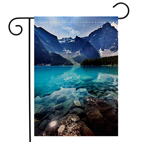 BEIVIVI Creative Home Garden Flag Lake Moraine Banff National Park Emerald Water Landscape Alberta Canada Welcome House Flag for Patio Lawn Outdoor Home Decor ()