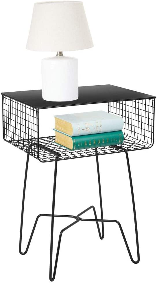 mDesign Modern Farmhouse Side/End Table - Solid Metal Design - Open Storage Shelf Basket, Hairpin Legs - Sturdy Vintage, Rustic, Industrial Home Decor Accent Furniture for Living Room, Bedroom - Black