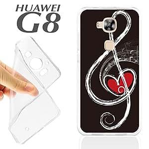 J189 HUAWEI G8 GEL CARCASA FUNDA TPU PENTAGRAMA MUSICA LOVE MUSIC