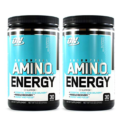Optimum Nutrition Amino Energy 2 Pack, Blueberry Mojito, Preworkout and Essential Amino Acids with Green Tea and Green Coffee Extract, 30 Serv Each