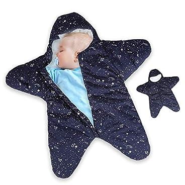 Dee Banna Baby Swaddle, Neugeborenen Stern Baby Boy Girl Bunting Winter Schlafsack warme Decke Swaddle für 12-24 Monate Baby(blue)