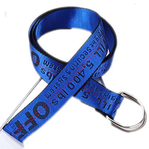 Belt Fashion Accessories Letters Embroidery Unisex Long Waistband Sapphire Blue 130cm