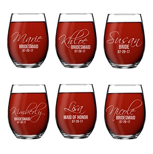 Set of 1, 2, 3, 4, 5, 6, 7, 8 Custom Etched Bride, Bridesmaid Stemless Wine Glasses - Personalized Wedding Party Glass Gifts - Feather Tip Style (6) ()