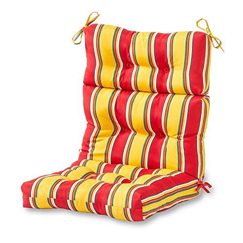 (Greendale Home Fashions Outdoor High Back Chair Cushion, Carnival Stripe)