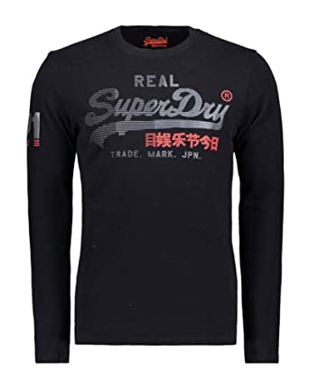 8dbb3a2f Superdry Men's Vintage Logo 1st Duo Long-Sleeve T-Shirt (Black, Large