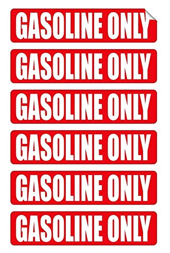 6-Pcs Great Popular Gasoline Only Car Stickers Sign Self-Adhesive Gas Door Window Helmet Size 3/4