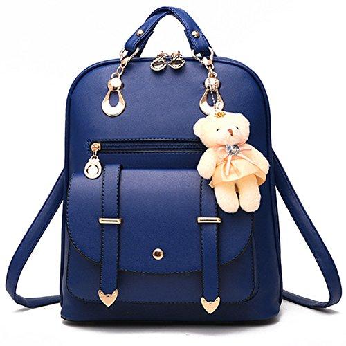 School Royal Blue Ladies Women's Shoulder Zipper Casual Handbag Rucksack Backpack Travel Bag Closure Pu Leather Bags fnfwpxqvR