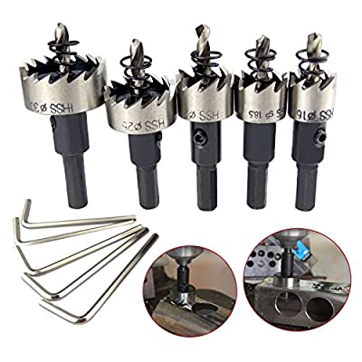 5PCS HSS Drill Bit Hole Saw Set,High Speed Steel drill bit cutter Tool Metal Alloy 16-30mm