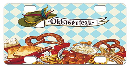Carnival Costumes Manufacturer - Oktoberfest Mini License Plate by Lunarable, Bread Pretzel Carnival Partying Germany Costume Cheerful Festival Illustration, High Gloss Aluminum Novelty Plate, 2.94 L x 5.88 W Inches, Multicolor