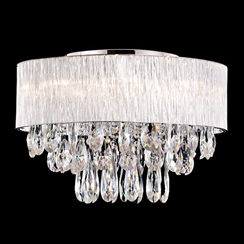 Flush Mount Light in Cylinder Ribbed Glass Tube Shade, (20″ inches )Modern K9 Crystal Drop Drum Style Ceiling Light Fixture Flush Mount, Pendant Light Chandeliers Lighting for Bedroom, Living Room For Sale