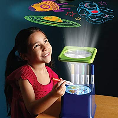 Discovery Kids Art Projector with Six Dry Erase Markers and 10 Reusable Drawing Discs, Draw on Reusable Transparent Sheets, Magnify and Project Art onto Ceilings, Walls, and More: Toys & Games