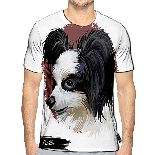 3D Printed T-Shirts Papillon Continental Toy Spaniel Breed Portrait Watercolor Digital Art Muzzle of Lap Pet Do Short Sleeve Tops Teesd