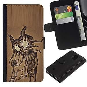 Paccase / Billetera de Cuero Caso del tirón Titular de la tarjeta Carcasa Funda para - Cute Friendly Big Eyes Alien Art - Samsung Galaxy S5 Mini, SM-G800, NOT S5 REGULAR!