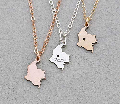 - Colombia Necklace - IBD - Personalize with Name or Coordinates – Choose Chain Length – Pendant Size Options - Ships in 1 Business Day - 935 Sterling Silver 14K Rose Gold Filled Charm