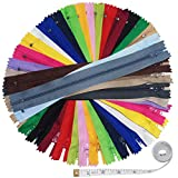 Ceeyali 80 Pcs 9 inch Nylon Coil Zippers Bulk for Sewing Crafts (20 Color)