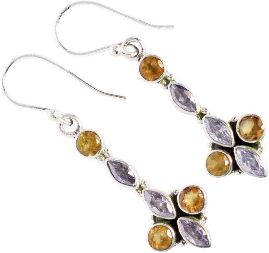 Pretty Look FSJ-3800 - Pendientes de plata de ley 925 con piedra preciosa de amatista y citrino, color morado