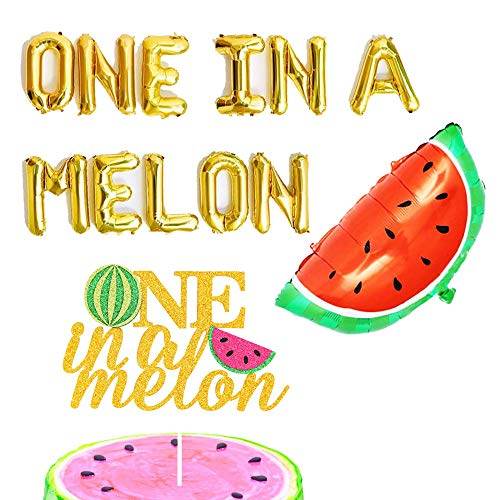 MoonVila One in a Melon Balloons and Cake Topper 1st Birthday Party Decor First Birthday Banner Watermelon Theme Party - Birthday Balloon 1st Party