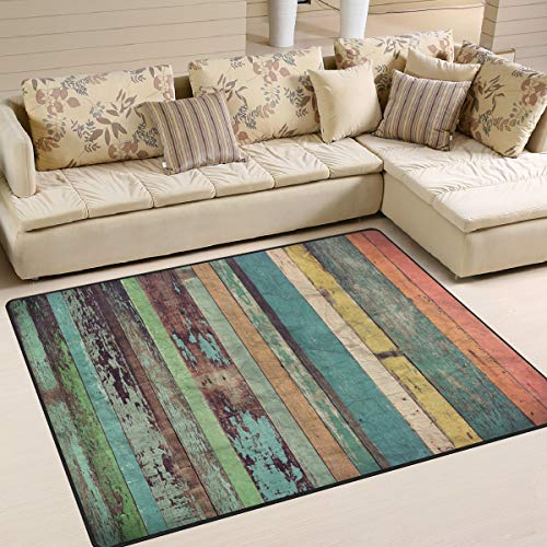 Gaz X Plank Barnwood Pattern Area Rug Rugs for Living Room Bedroom 7' x 5'