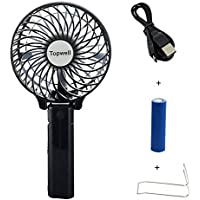 Topwell® Rechargeable Fans Portable Handheld Fan Battery Operated Cooling Fan Electric Personal Fans Foldable Fans with 18650 Battery (Black)