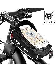 Eyscoco Fahrrad Rahmentasche mit Fingerabdruck Entsperren(Touch ID), Wasserdichte Fahrradtasche Fahrrad Handyhalterung mit TPU-Touchscreen und Kopfhörerloch,TPU Touchschirm von 6 Zoll