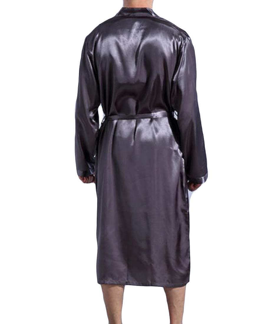 Comaba Mens Satin Long-Sleeve Charmeuse Soft Bathrobe Oversized Sleepwear