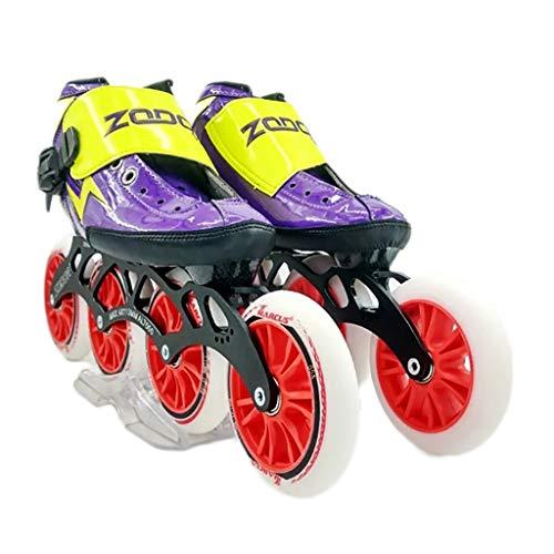難民プレビュー拒絶NUBAOgy インラインスケート、90-110ミリメートル直径の高弾性PUホイール、4色で利用可能な子供のための調整可能なインラインスケート (色 : 黒, サイズ さいず : 38)
