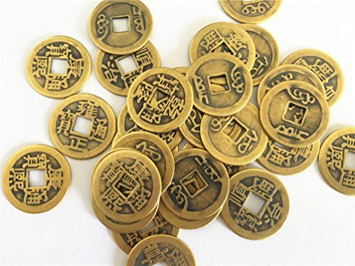 Chinese Good Luck Dragon (Derker 50 Pack Double Dragon Chinese Good Luck Coins,Shui I-ching Coins,Mixed 5 Differern Chinese Dynasty Time Coin,A Big Value,Special gift)