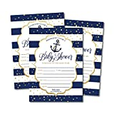 25 Nautical Baby Shower Invitations, Sprinkle Invite for Boy or Girl, Gender Neutral Reveal Navy Gold Anchor Theme, Cute Printed Fill or Write in Blank Printable Card, Coed Twin Party Paper Supplies