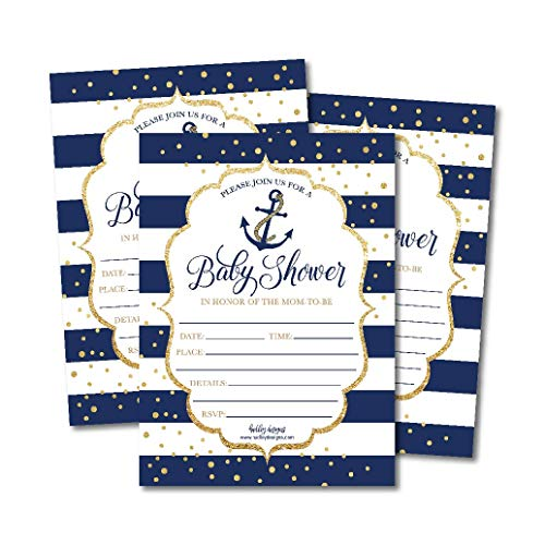 25 Nautical Baby Shower Invitations, Sprinkle Invite for Boy or Girl, Gender Neutral Reveal Navy Gold Anchor Theme, Cute Printed Fill or Write in Blank Printable Card, Coed Twin Party Paper Supplies ()