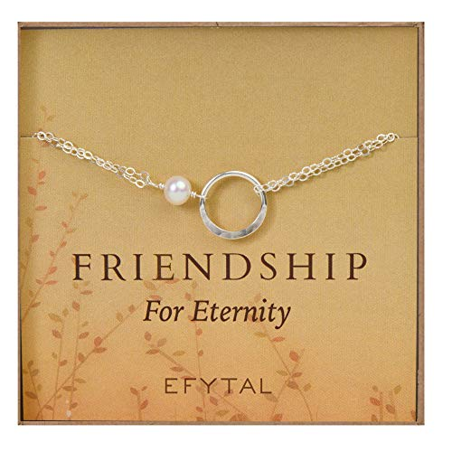 EFYTAL Friendship Bracelet, Sterling Silver Eternity Karma Circle with Cultured Pearl