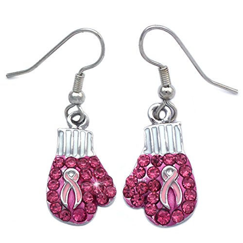 Support Breast Cancer Awareness Boxing Glove Drop Dangle Hook Earrings Jewelry (Dangle Hook)