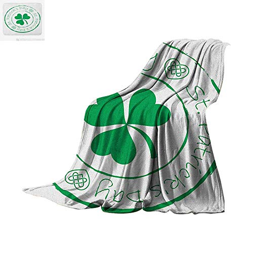 - St. Patricks Day Digital Printing Blanket Stamp Like Design Greetings for Party March 17 Lucky Shamrock Print Oversized Travel Throw Cover Blanket 62