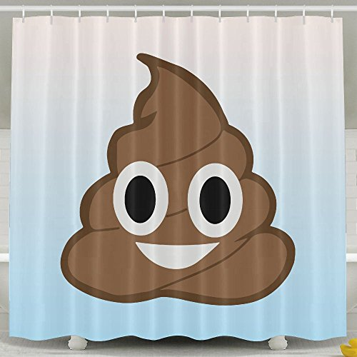 BESTSC Bath Curtain Cute Funny Poop Face Emoji Shower Curtains - Waterproof Polyester Fabric Bathroom Decor Set With Hooks - 60