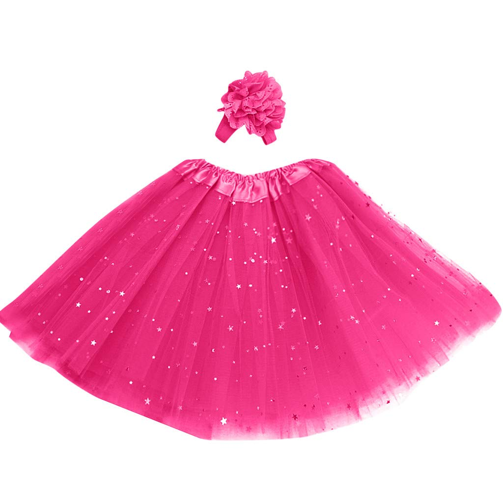 Lanhui Kids Girl Petticoat Paillette Star Tutu Skirt Pettiskirt Hair Band Dancewear (3-8 Years, Hot Pink)