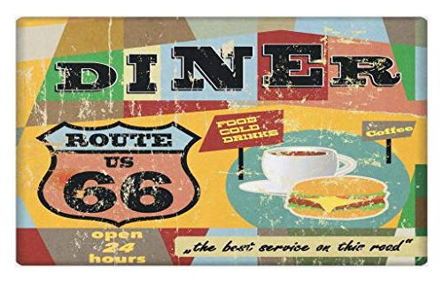 Lunarable Route 66 Doormat, Nostalgic Diner Signboard Grunge Toned Food Drink Coffee Burger Icons Illustration, Decorative Polyester Floor Mat with Non-Skid Backing, 30 W X 18 L Inches, Yellow Blue