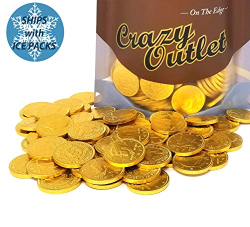 Chocolate Gold Coins Bulk - CrazyOutlet Pack - Gold Coins Milk Chocolate Candy, Large 1.5 Inch, Bulk Candy, 2 lbs
