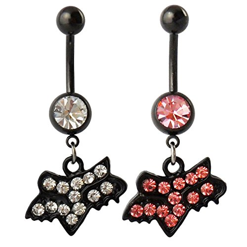 Drill Fox Design Belly Button Ring Fashion Body Piercing Jewelry (Pink & White)